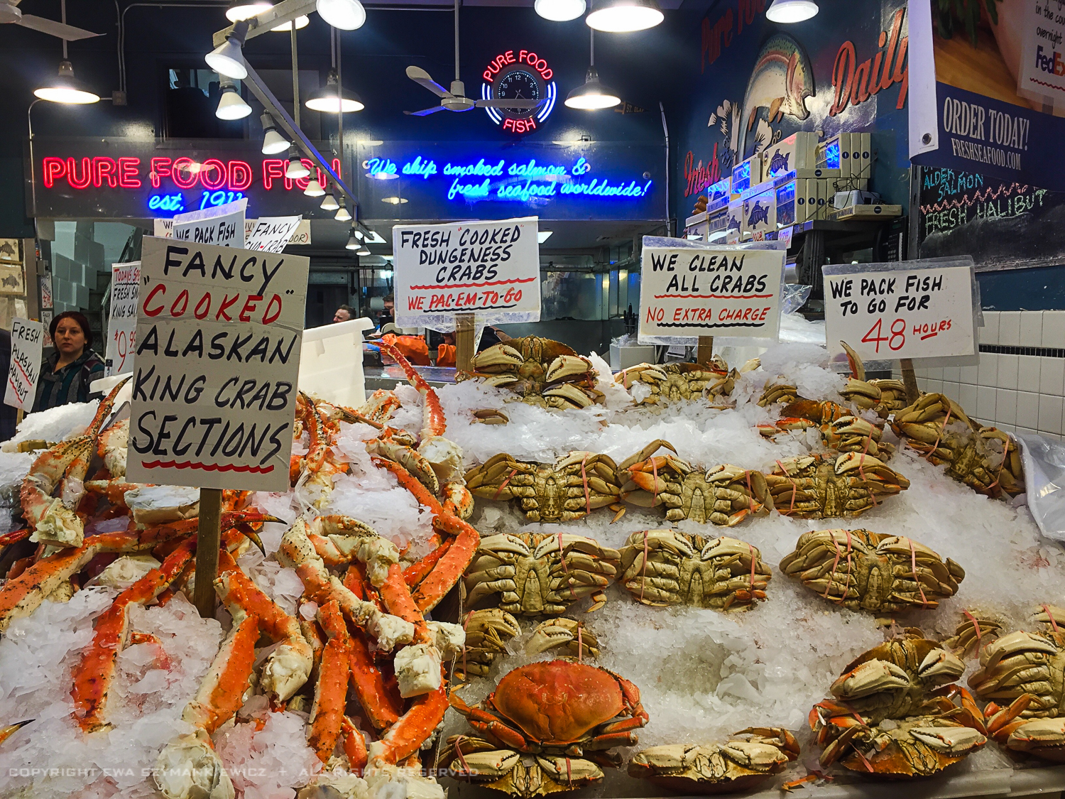 Pike Place Market in Seattle, Fish stand