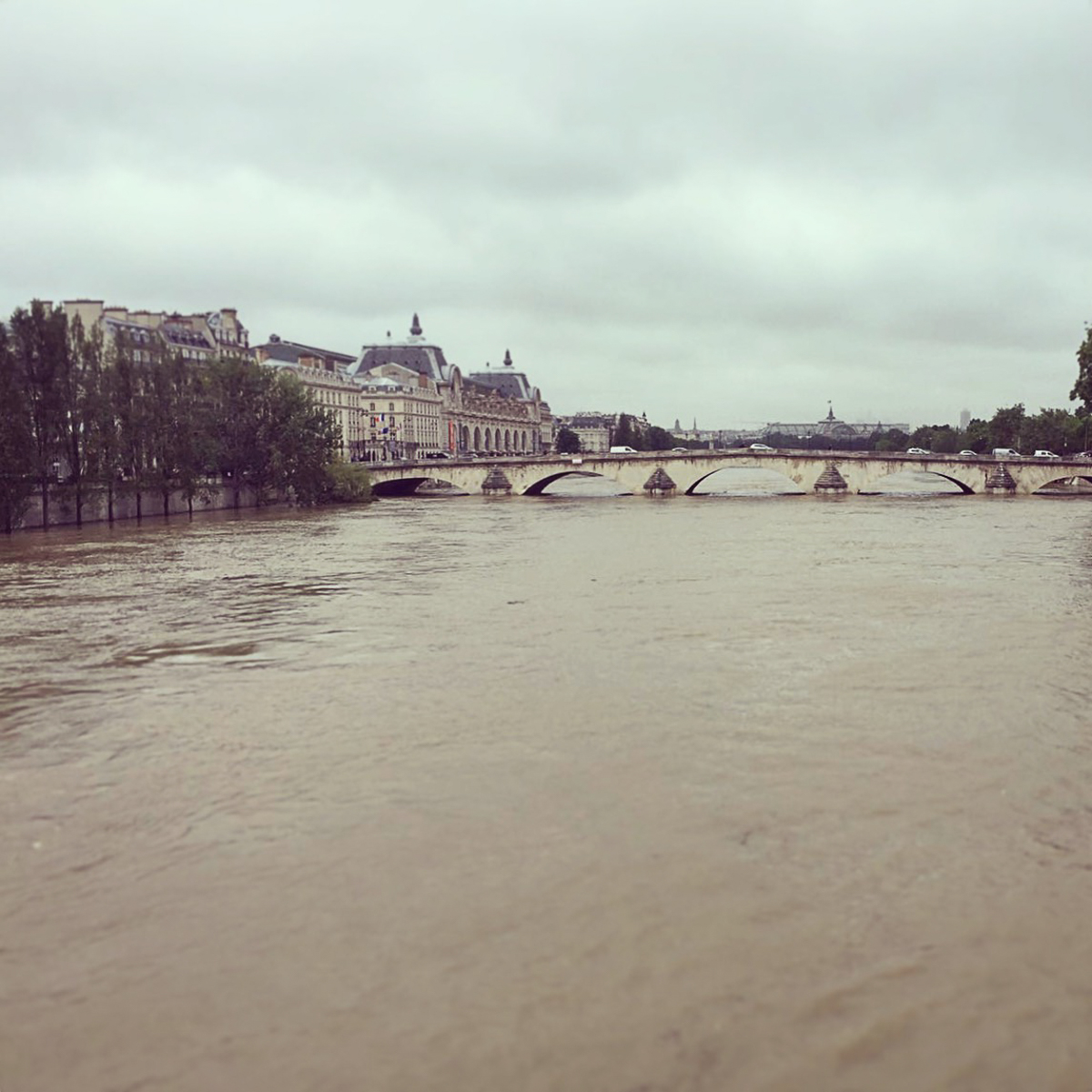 High Seine level. Musee d'Orsay in the background