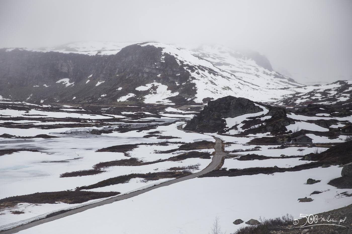 Oslo-Bergen train ride snowy view