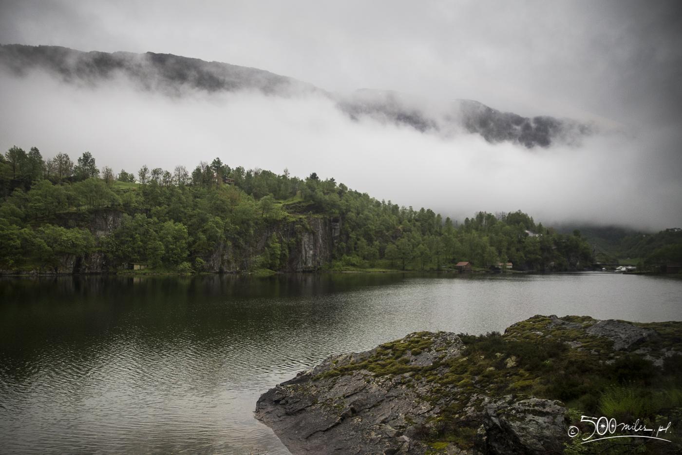 Oslo-Bergen train ride - foggy landscape
