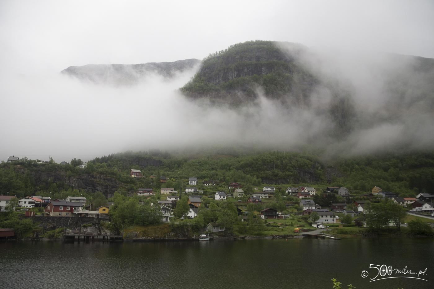 Oslo-Bergen train ride - foggy landscape and village