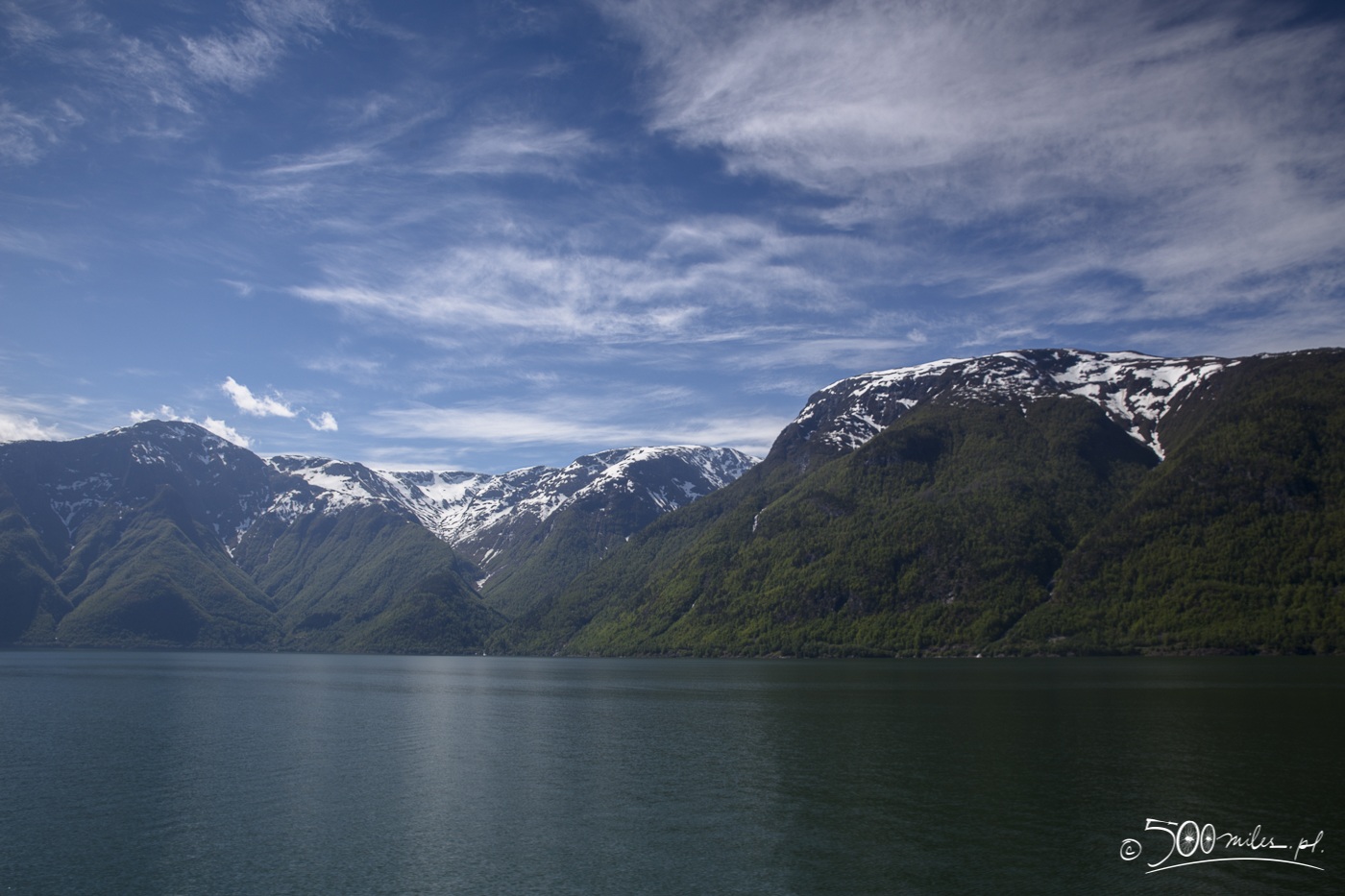 Splendid mix of green and snow in Sognefjord, Norway